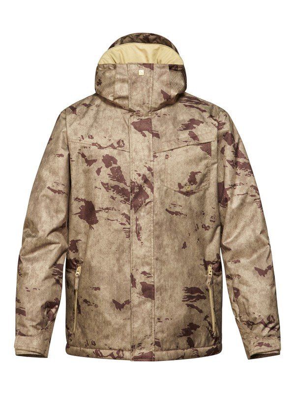 0 Mission Printed 10K Insulated Jacket Brown EQYTJ00073 Quiksilver