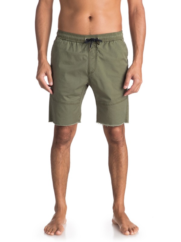 0 Men's Foxoy Straight Tapered Shorts Green EQYWS03461 Quiksilver
