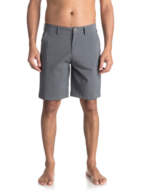 "0 Men's Transit Twill Amphibian 20"" Amphibian Shorts Black EQYWS03494 Quiksilver"