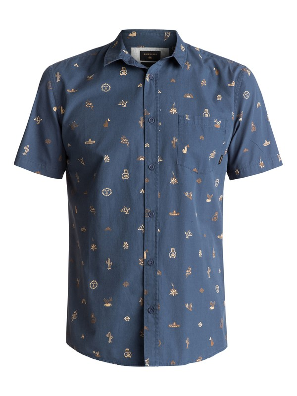 0 Baja Moment Mini Motif Short Sleeve Shirt Blue EQYWT03566 Quiksilver