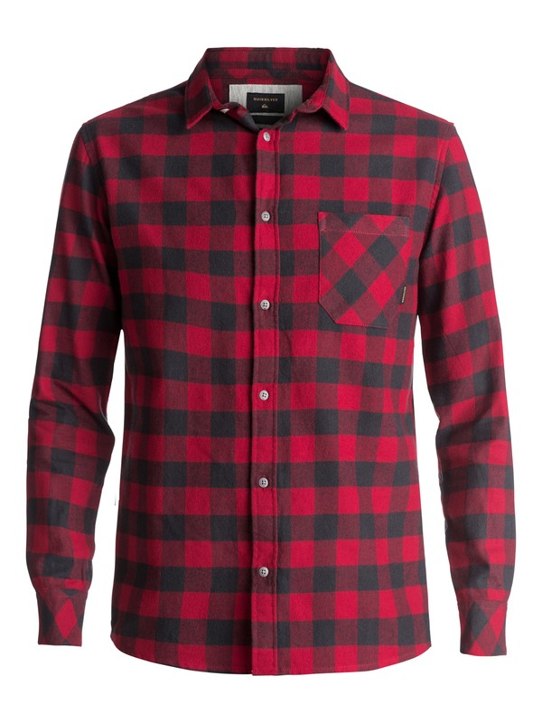 0 Motherfly Flannel Long Sleeve Shirt Red EQYWT03573 Quiksilver