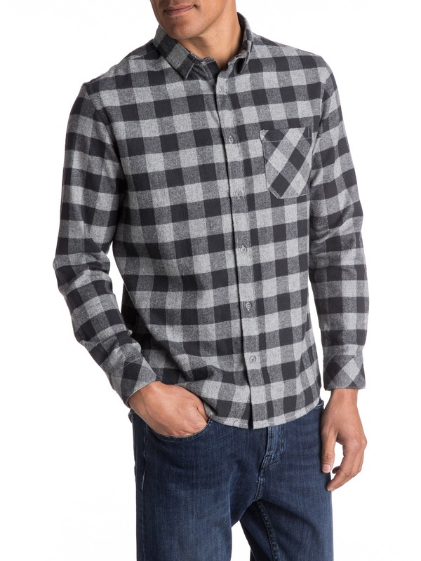 0 Motherfly Flannel Long Sleeve Shirt Black EQYWT03573 Quiksilver