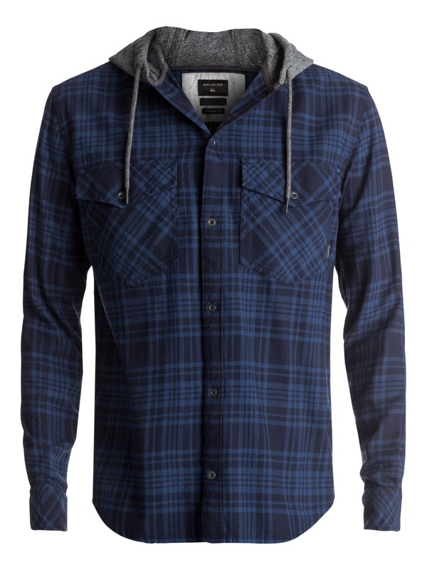 0 Snap Up Flannel Long Sleeve Hooded Shirt Blue EQYWT03578 Quiksilver