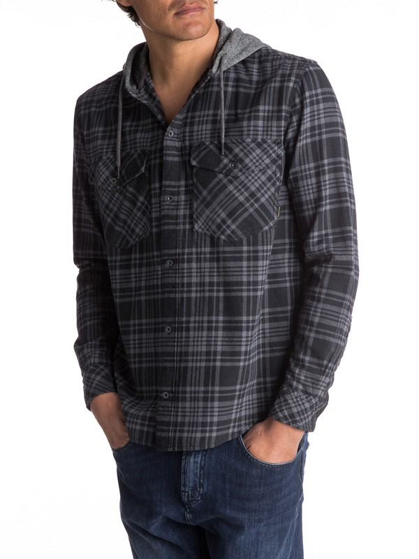 0 Snap Up Flannel Long Sleeve Hooded Shirt Black EQYWT03578 Quiksilver