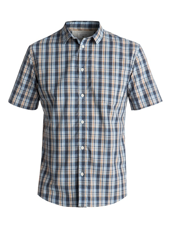 0 Men's Tidal Brinx Short Sleeve Shirt Blue EQYWT03604 Quiksilver