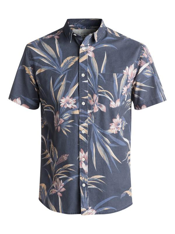 0 Men's Longa Locka Short Sleeve Shirt Blue EQYWT03608 Quiksilver