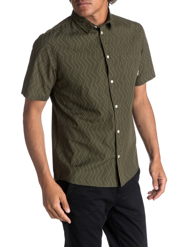 0 Men's Variable Short Sleeve Shirt Green EQYWT03609 Quiksilver