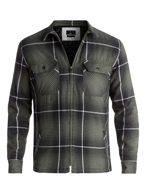 0 Men's Cypress Road Long Sleeve Overshirt Green EQYWT03613 Quiksilver