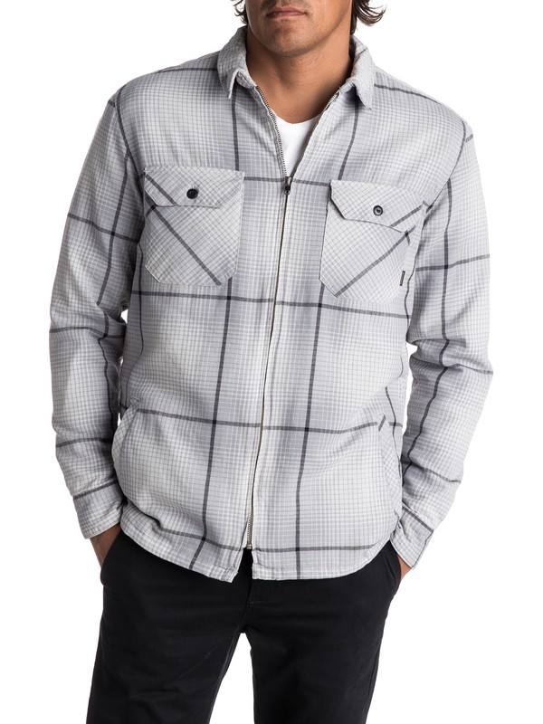 0 Men's Cypress Road Long Sleeve Overshirt Grey EQYWT03613 Quiksilver