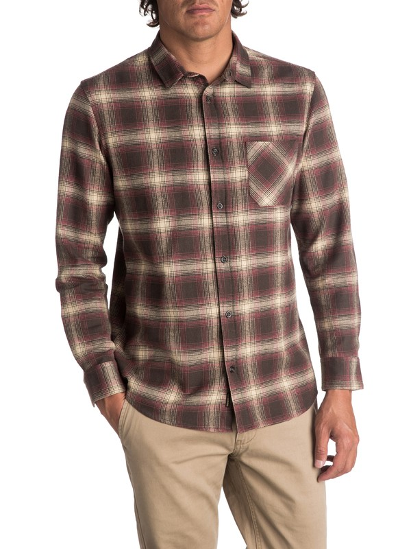 0 Men's Fatherfly Long Sleeve Shirt Brown EQYWT03616 Quiksilver