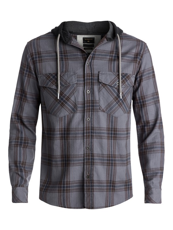 0 Men's The Magston Hooded Long Sleeve Shirt Brown EQYWT03619 Quiksilver