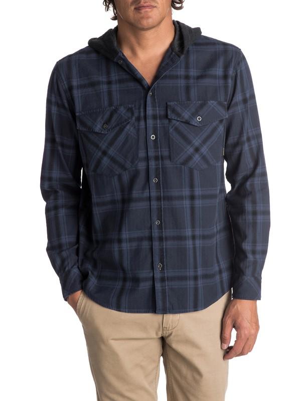 0 Men's The Magston Hooded Long Sleeve Shirt Blue EQYWT03619 Quiksilver