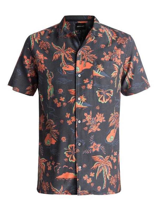 0 Men's Black Hula Short Sleeve Shirt Black EQYWT03622 Quiksilver