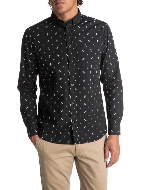0 Men's Da Huts Long Sleeve Shirt Black EQYWT03627 Quiksilver