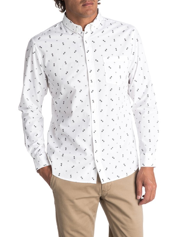0 Men's Da Huts Long Sleeve Shirt White EQYWT03627 Quiksilver