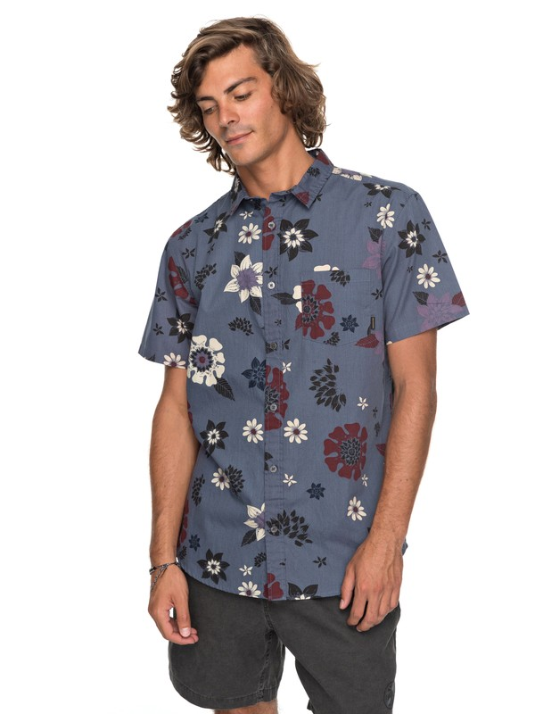 0 Sunset Floral - Short Sleeve Shirt Blue EQYWT03634 Quiksilver