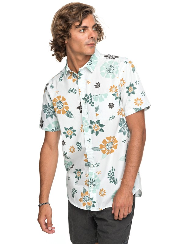 0 Sunset Floral Short Sleeve Shirt White EQYWT03634 Quiksilver
