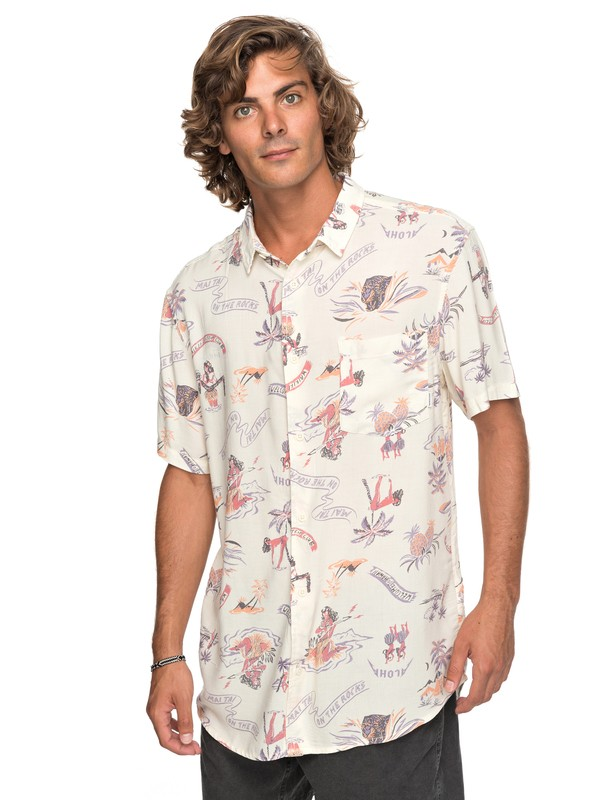 0 Aloha Strip Club Short Sleeve Shirt White EQYWT03646 Quiksilver