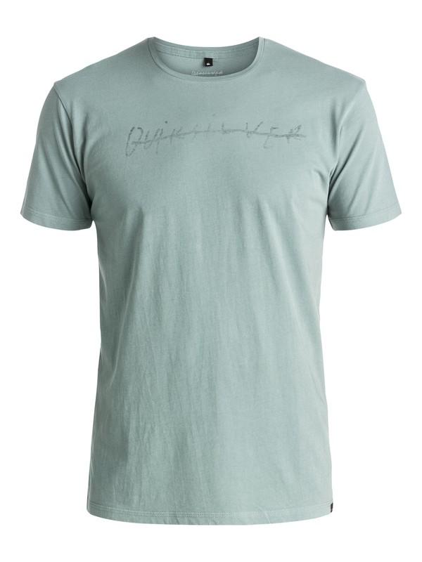 0 Logo Quik Signature - Tee-Shirt Vert EQYZT03974 Quiksilver
