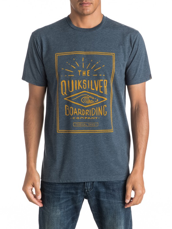 0 Heather Double Lines - Tee-Shirt Bleu EQYZT04289 Quiksilver