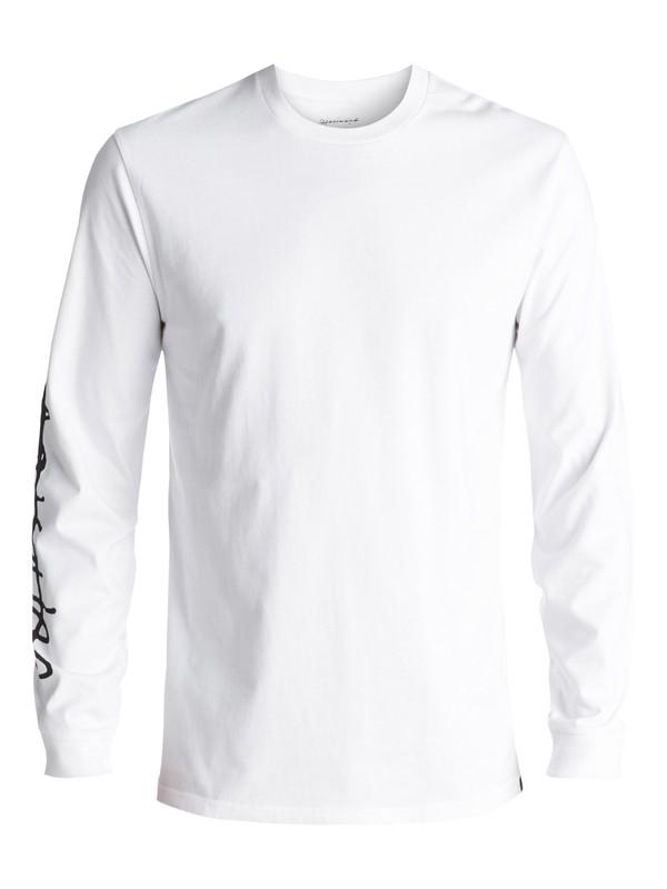 0 Men's Beach Spray Long Sleeve Tee White EQYZT04593 Quiksilver