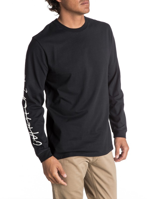 0 Men's Beach Spray Long Sleeve Tee Black EQYZT04593 Quiksilver