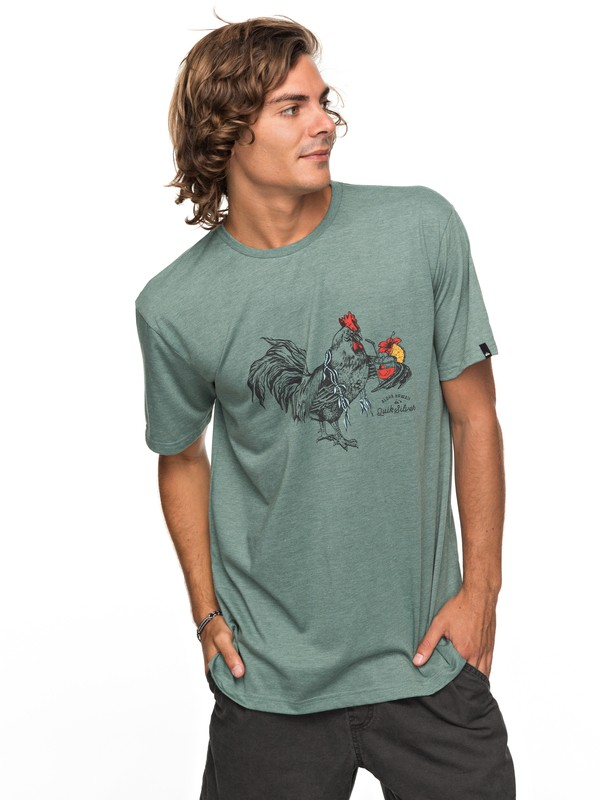 0 Heather Rooster Vibe - T Shirt col rond Bleu EQYZT04740 Quiksilver