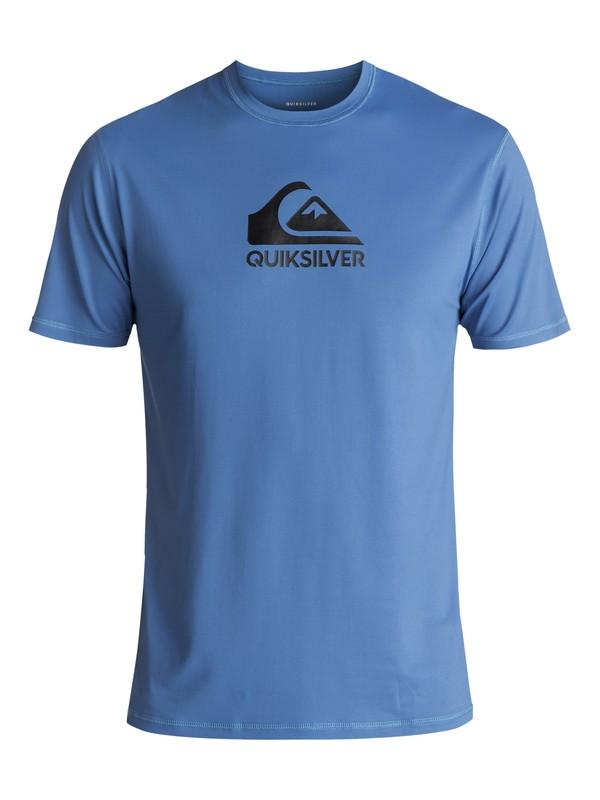 0 Men's Solid Streak Short Sleeve UPF 50 Rash Guard Blue UQYWR03054 Quiksilver