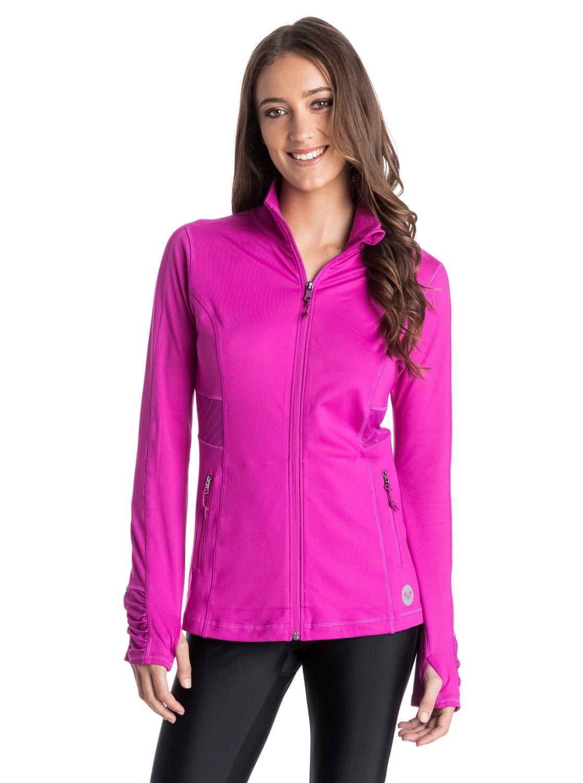 Work It Jacket - RoxyWork It Jacket – новинка из коллекции одежды Roxy Весна-лето 2015. Характеристики: женская куртка, спина с сеточными вставками для циркуляции воздуха, манжеты с отверстиями для большого пальца, карманы на молнии. Дополнительно: медиапорт, состав – 90% полиэстер, 10% эластан.<br>