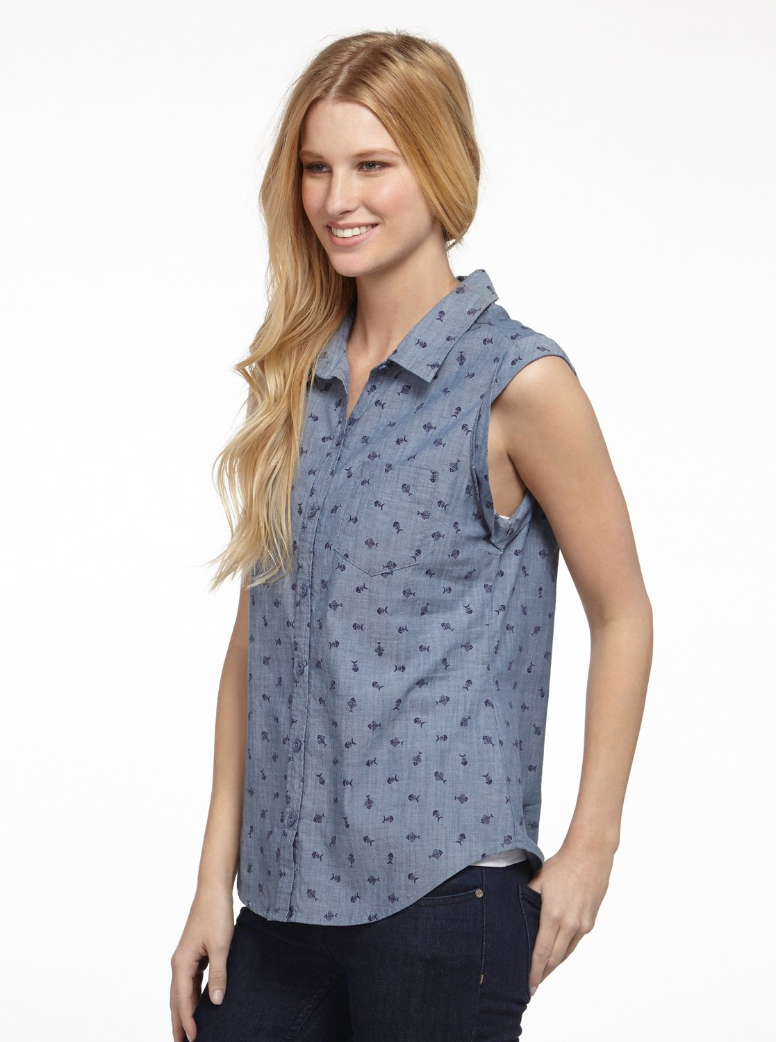 Perfect way chambray top arjwt00066 roxy for Chambray top