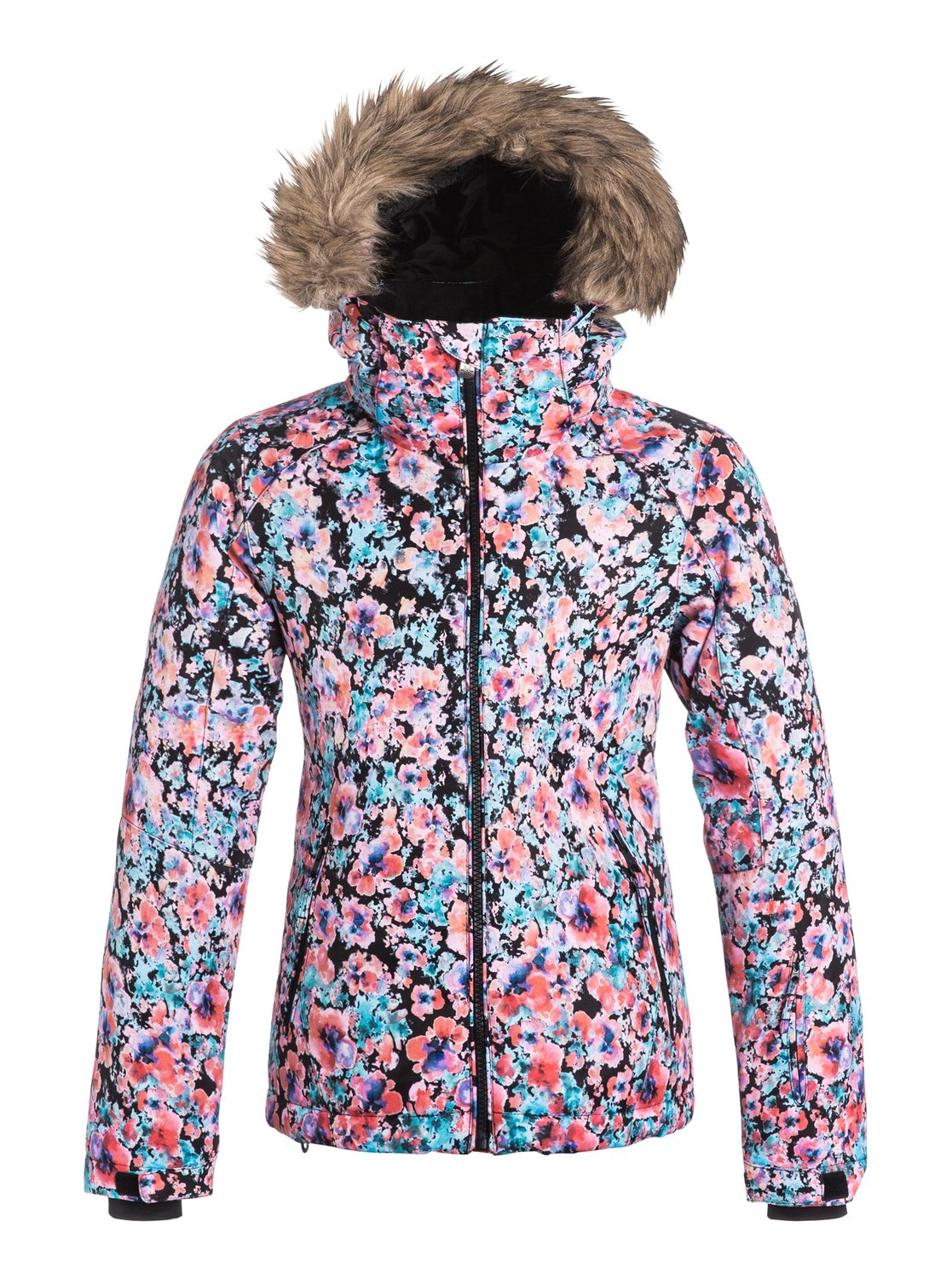Сноубордическая детская куртка Jet SkiThe Jet Ski snowboard jacket for girls comes complete with a sporty yet feminine slim fit and cosy removable fur. The bold fashionable prints have been woven with 10K ROXY DryFlight® technology waterproofing for reliable waterproof and breathable protection in a wide range of winter conditions. Other features include Warmflight® insulation level 3 to keep you cosy on the coldest winter days and breathable taffeta lining with soft tricot panels.<br>