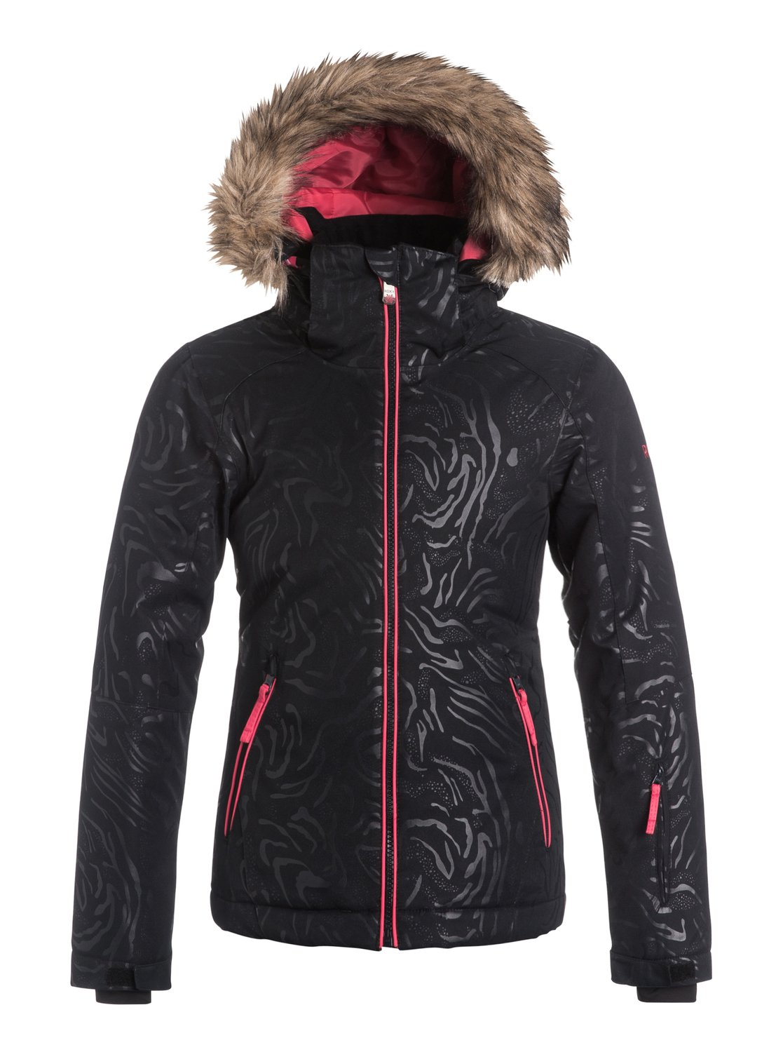 Сноубордическая детская куртка Jet Ski SolidTheres more to the Jet Ski Solid snow jacket for girls than meets the eye. The bold colourways are brought to life with a beautiful all-over embossed pattern and come complete with removable cosy faux-fur on the hood. 10K ROXY DryFlight® technology waterproofing provides reliable waterproof and breathable protection, a slim fit is sporty yet feminine, Warmflight® insulation level 3 is cosy on the coldest winter days and critically-taped seams offer extra protection in the most exposed areas.<br>