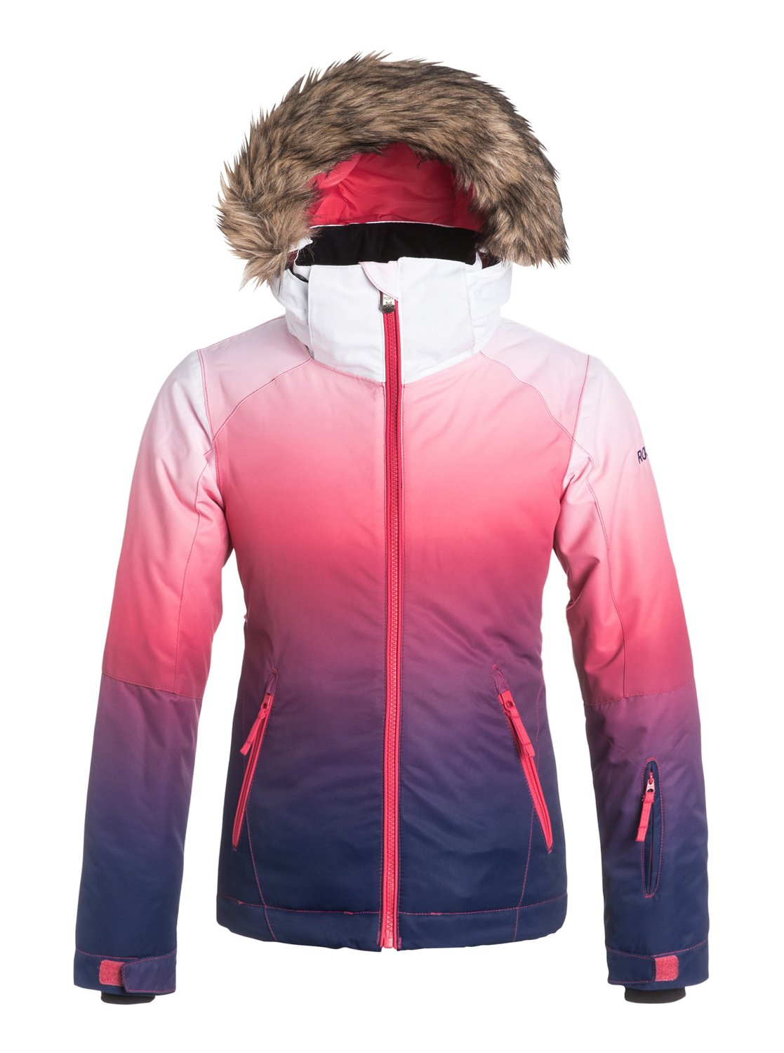 Сноубордическая детская куртка Jet Ski GradientThe Jet Ski Gradient snow jacket for women comes complete with a sporty yet feminine slim fit and cosy removable fur. The fashionable dip-dye gradient effect has been woven with 10K ROXY DryFlight® technology waterproofing for reliable waterproof and breathable protection in a wide range of winter conditions. Warmflight® level 2 insulation provides low-bulk warmth and critically-taped seams for extra protection in the most exposed areas.<br>