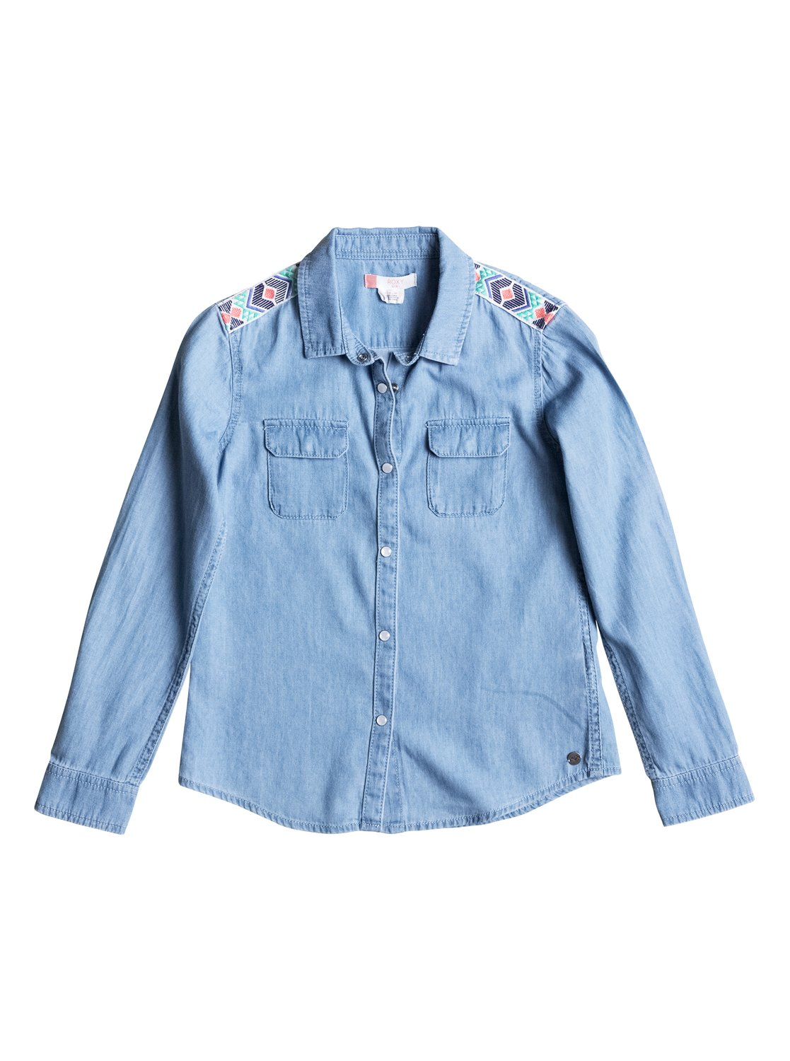 Water Priorities - Long Sleeve Denim ShirtWeve taken the classic denim shirt, added a pop of summer colour with shoulder embroidery, faux-shell snaps and crafted it from a super-lightweight and softened pure-cotton.<br>