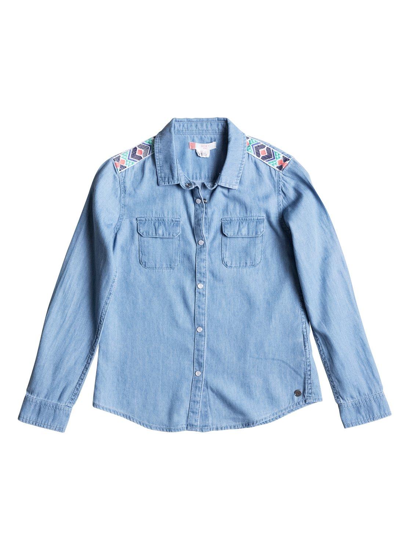 Джинсовая рубашка с длинным рукавом Water PrioritiesКлассическая джинсовая рубашка + яркие летние краски + вышивка вдоль плеч = идеальный сезонный стиль. А еще у этой рубашки пуговицы, имитирующие ракушечник, и сшита она из легкого и тонкого хлопка, очень приятного к телу.<br>