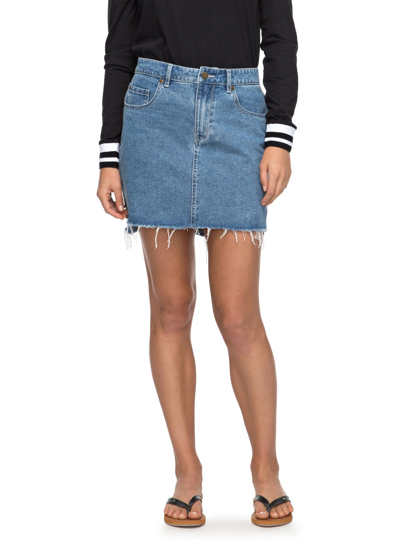 Take This Chance High Waisted Denim Skirt ERJDK03006   Roxy
