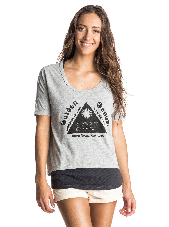 Womens Parsons Landing T-ShirtЖенская футболка Parsons Landing от ROXY.ХАРАКТЕРИСТИКИ: 2-в-1, безразмерный крой, трафаретный принт, частичная подкладка.СОСТАВ: 60% хлопок, 40% полиэстер.<br>