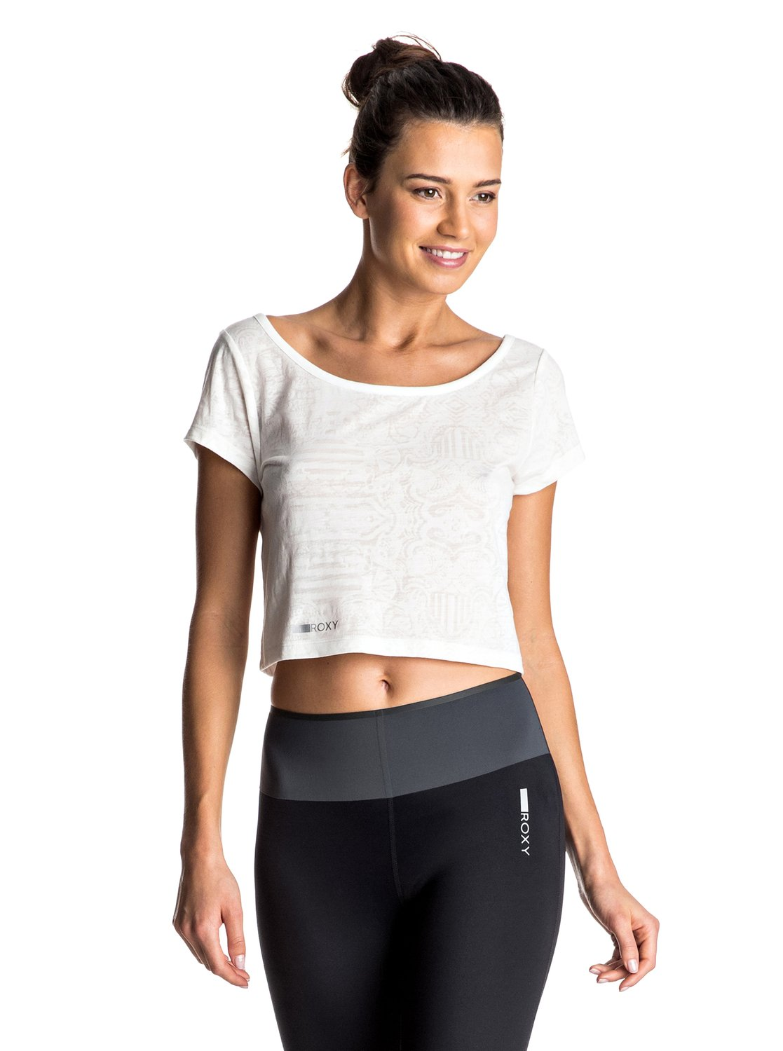 Felicitee - Cropped TopChic and sporty, this womens cropped Yoga T-Shirt has been blended from cotton and polyester so you can enjoy soft sweat-wicking properties. The intricate yet subtle burn-out pattern will bring a feminine touch to your Yoga kit.<br>
