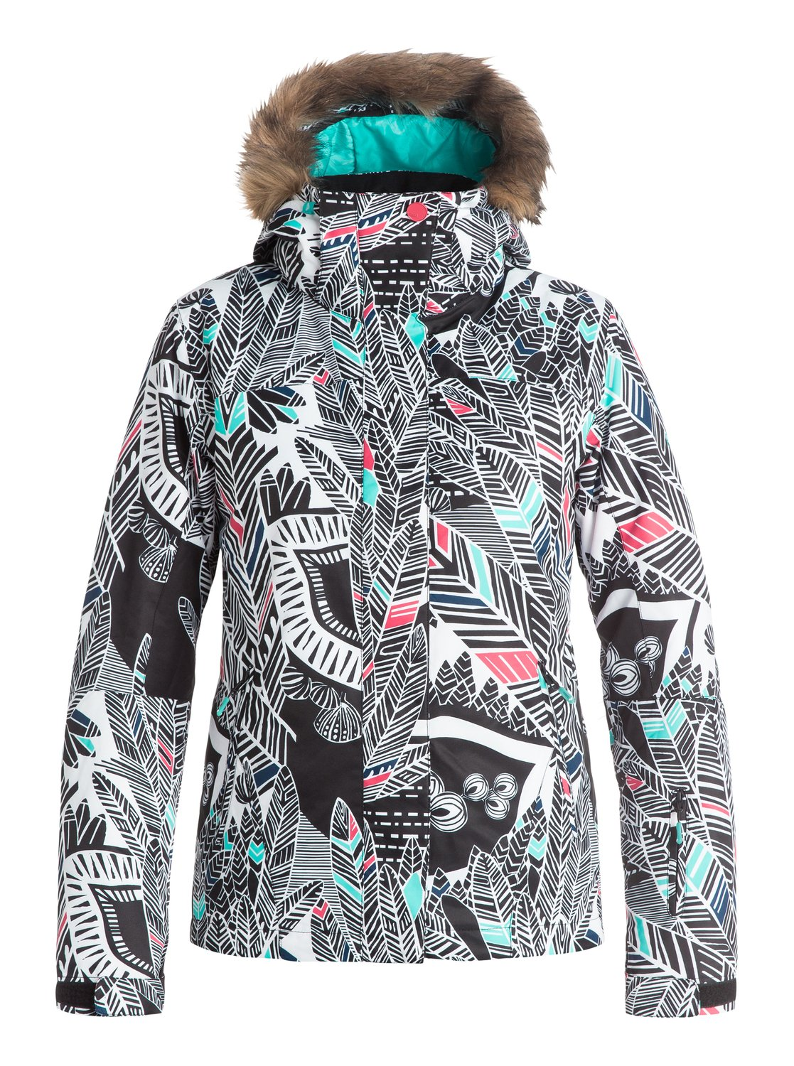 Сноубордическая куртка Jet SkiThe Jet Ski snow jacket for women comes complete with a sporty yet feminine slim fit and cosy removable fur. The bold fashionable prints have been woven with 10K ROXY DryFlight® technology waterproofing for reliable waterproof and breathable protection in a wide range of winter conditions. Warmflight® level 2 insulation provides low-bulk warmth and critically-taped seams offer extra protection in the most exposed areas.<br>
