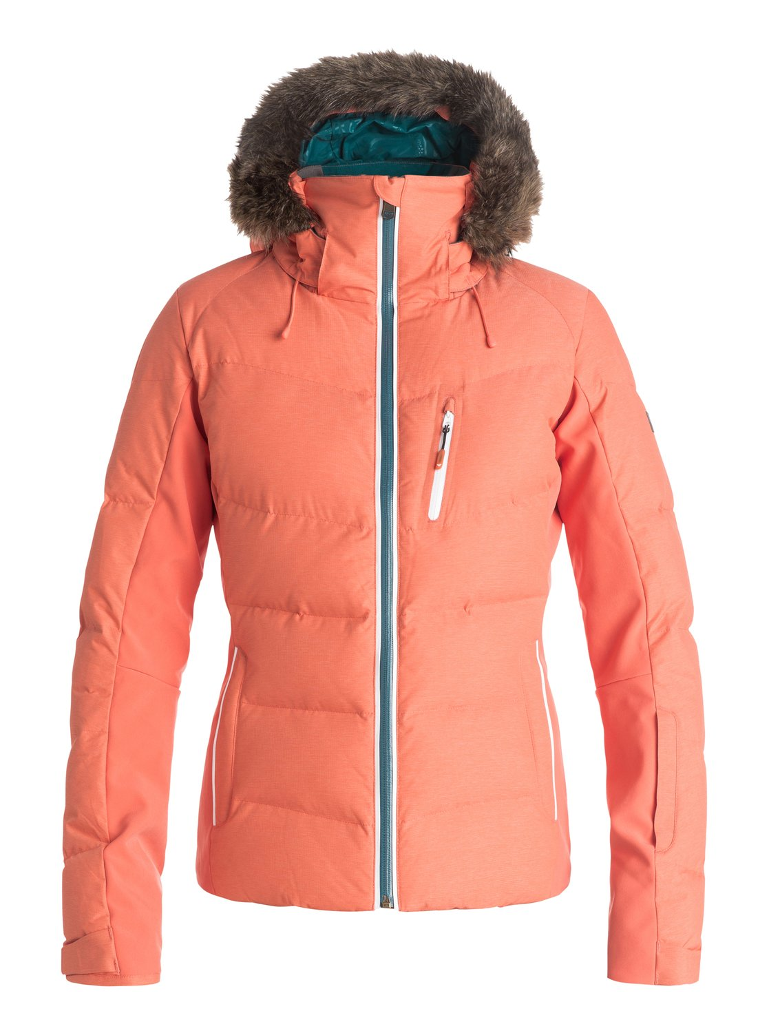 Утепленная сноубордическая куртка SnowstormThe Snowstorms secret to unbeatable warmth lies in its 600 fill-power real down quilting and high performance 15K waterproof shell. Its feminine slim fit is complemented by sporty stretch panels on the side for comfort and ease of movement and cosy removable fur on the hood. Contrast pop detailing ensures standout style while the DryFlight® waterproof technology offers excellent wet weather protection. A 3-way adjustable hood, Lycra wrist gaiters with thumbhole, ultra-lightweight embossed taffeta lining supply the freeride-friendly features you need to conquer the mountain, while the ROXY X Biotherm® Enjoy &amp;amp; Care integrated collar cares for your skin as you hike the ridgeline.<br>