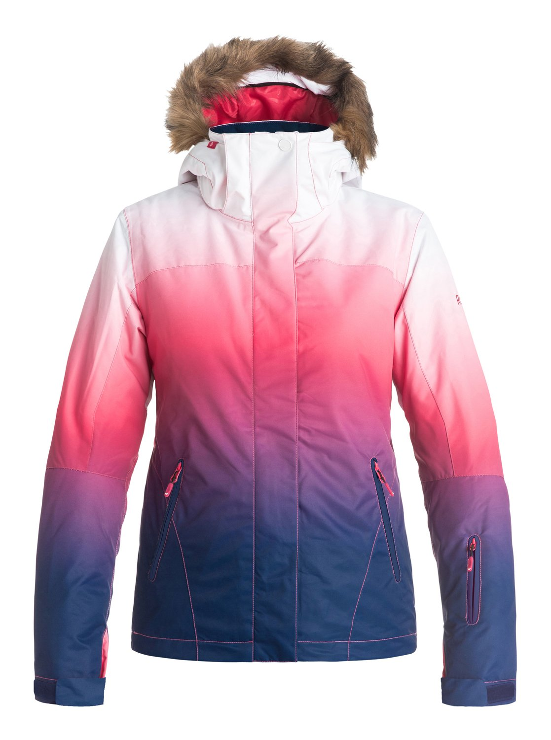 Сноубордическая куртка Jet Ski GradientThe Jet Ski Gradient snow jacket for women comes complete with a sporty yet feminine slim fit and cosy removable fur. The fashionable dip-dye gradient effect has been woven with 10K ROXY DryFlight® technology waterproofing for reliable waterproof and breathable protection in a wide range of winter conditions. Other features include Warmflight® level 2 insulation for low-bulk warmth and critically-taped seams for extra protection in the most exposed areas.<br>