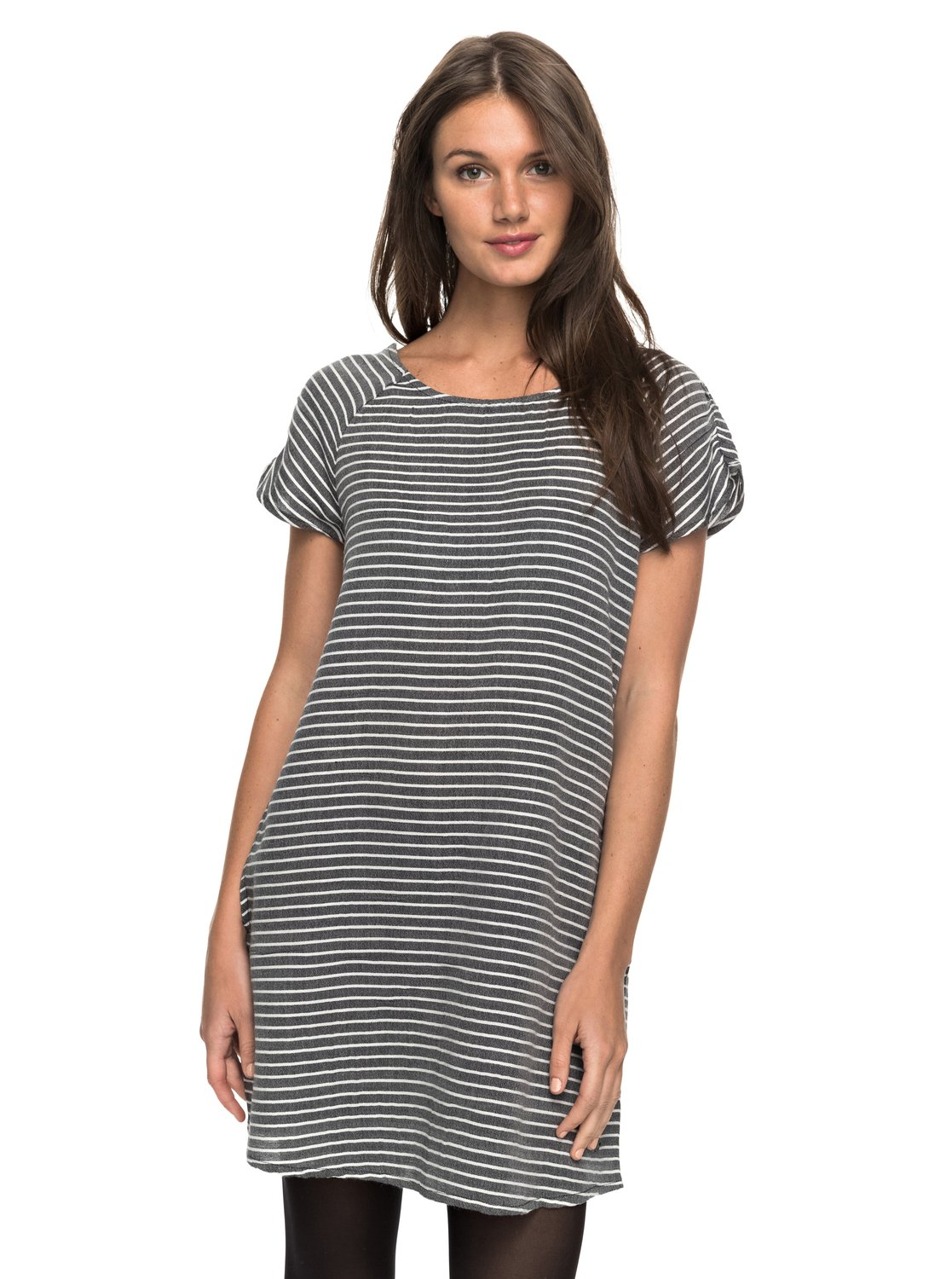 Black shirt dress - 0 Peak Moments Striped T Shirt Dress Black Erjwd03169 Roxy
