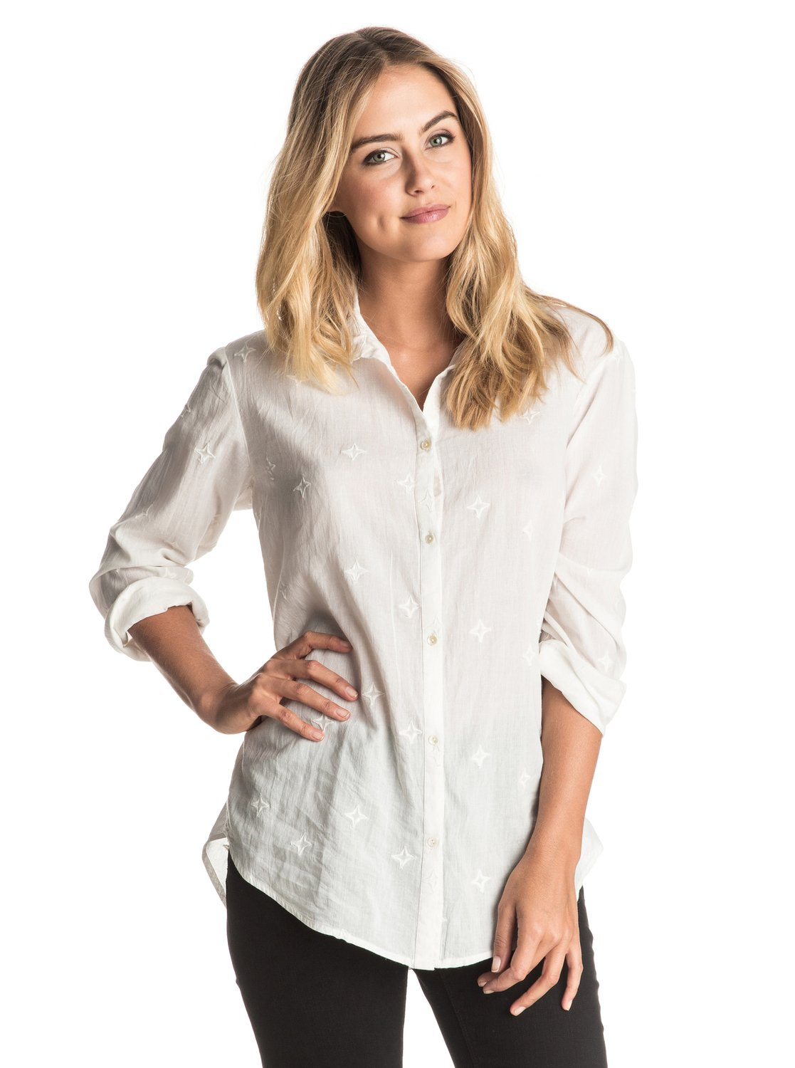 Easky - Long Sleeve ShirtThe bright white cotton voile and embroidered stars of this womens long sleeve shirt comes showcased in a feminine oversized fit. Knot the front and pair with the Rebel skinny jeans for a look that will take you anywhere. <br>