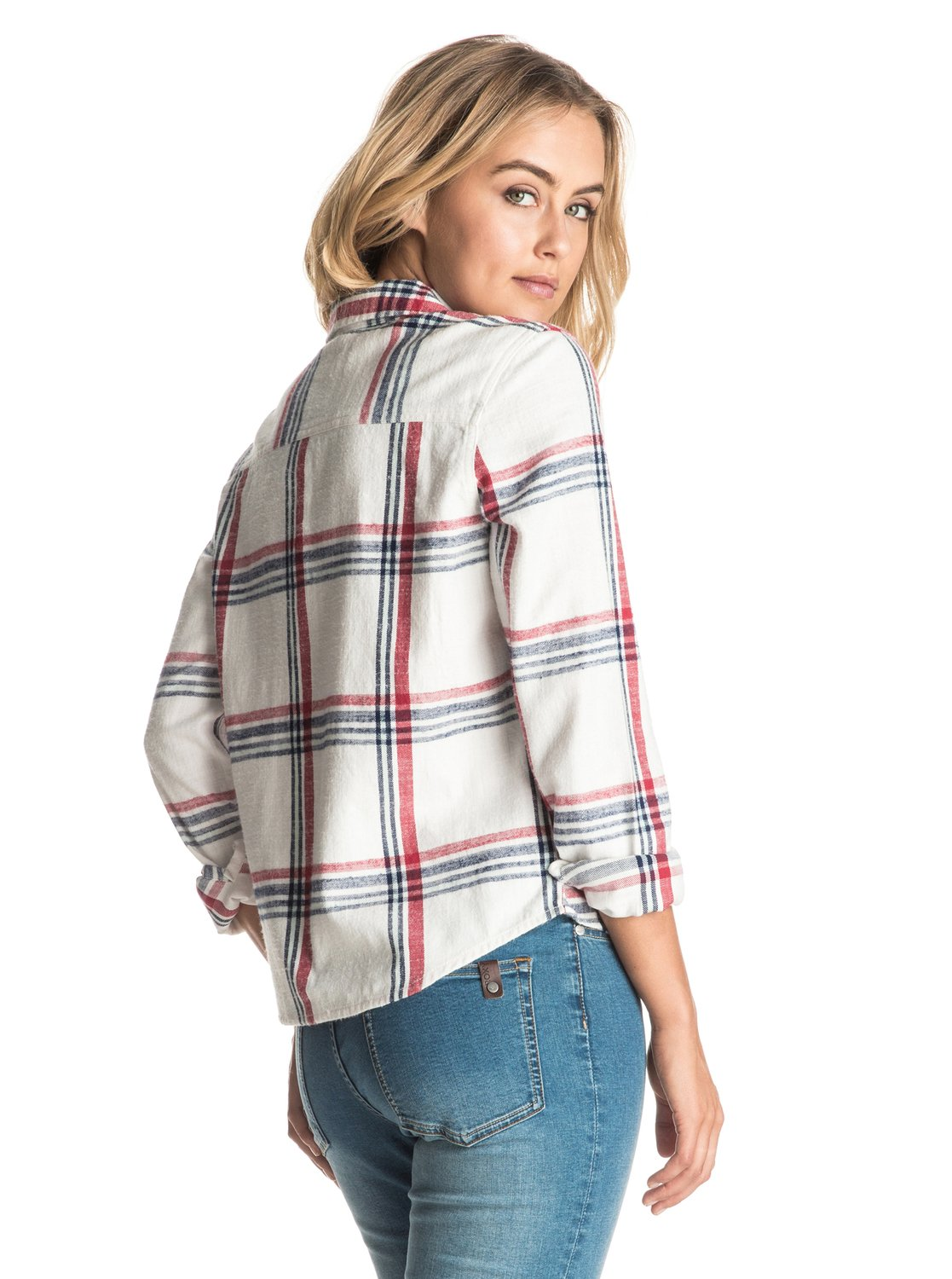 Plaid party long sleeve shirt 889351665843 roxy for Plaid shirt long sleeve