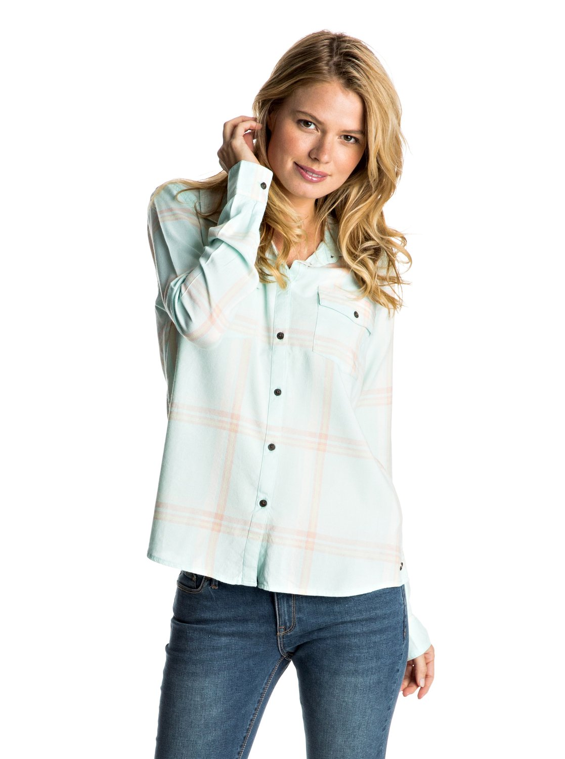 Plaid On You Long Sleeve Shirt Erjwt03108 Roxy