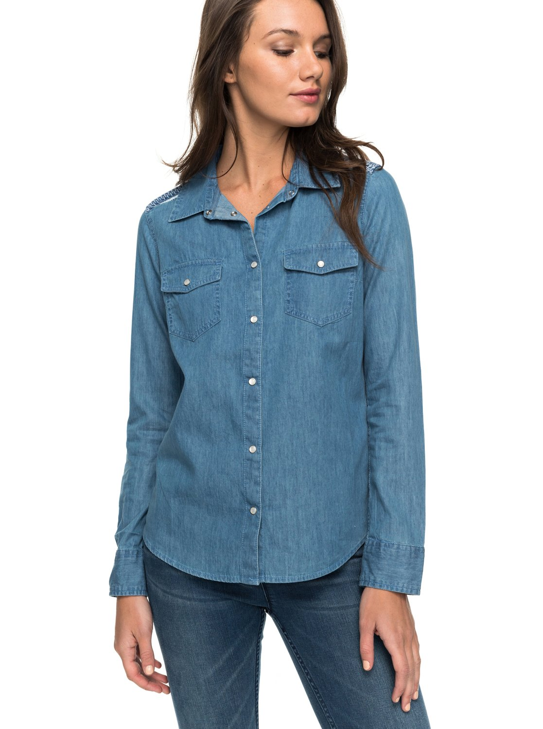Light Of Down - Camisa de denim de manga larga para Mujer Roxy