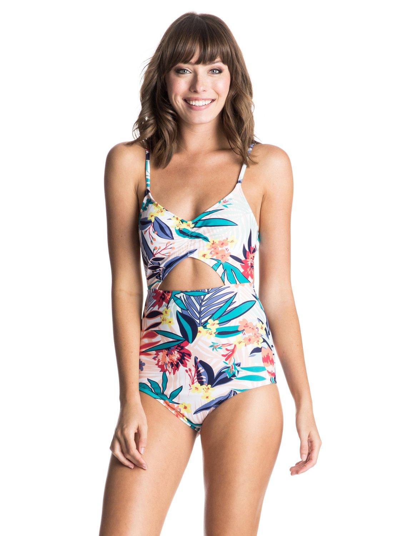 Womens Canary Islands One Piece SwimsuitЖенский купальник Canary Islands от ROXY. <br>ХАРАКТЕРИСТИКИ: декоративный вырез, большая площадь ткани, съемные чашечки, расцветка Canary Islands. <br>СОСТАВ: 80% нейлон, 20% эластан.<br>