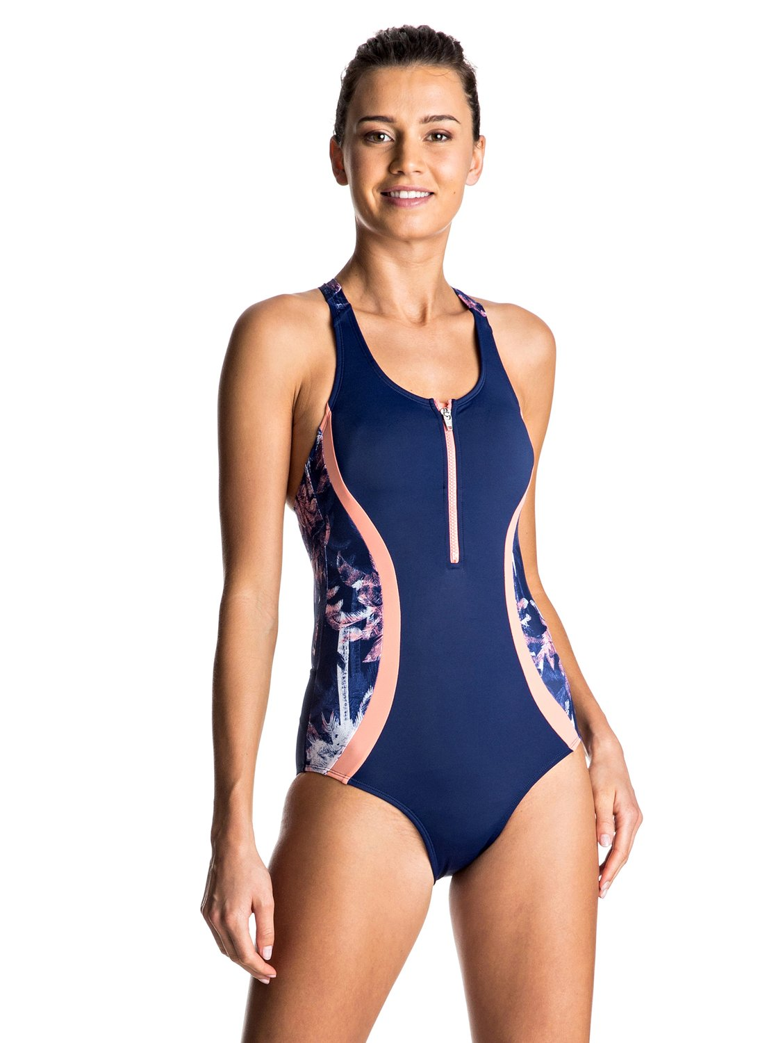 Keep It ROXY - Zip Front One-Piece Swimsuit<br>