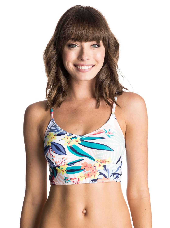 Womens Canary Islands Bikini TopЖенский бюстгальтер бикини Canary Islands от ROXY.ХАРАКТЕРИСТИКИ: фасон Bustia, большая площадь ткани, съемные чашечки, расцветка Canary Islands.СОСТАВ: 80% нейлон, 20% эластан.<br>