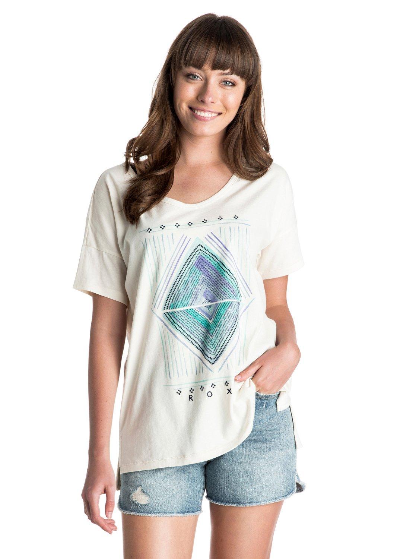 LooseЖенская футболка Loose от ROXY. Характеристики: легкая ткань, большой вырез, короткие рукава, принт спереди. СОСТАВ: 100% хлопок.<br>